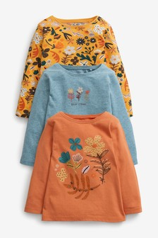 Orange Floral 3 Pack Organic Cotton T-Shirts (3mths-7yrs)