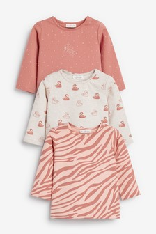 Rust 3 Pack Swan Print Tops (0mths-3yrs)
