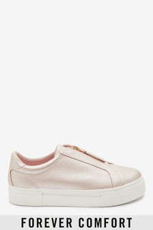 Rose Gold Chunky Zip Trainers