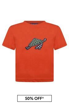 Boys Orange Cotton Turtle T-Shirt