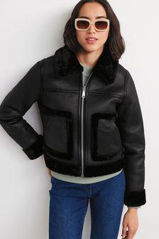 Black Reversible Faux Fur Aviator Jacket