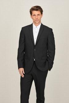 Black Slim Fit Motion Flex Commuter Suit: Jacket