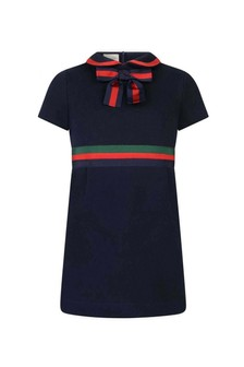 Girls Navy Cotton Dress With Bow