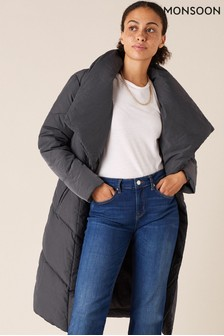 Monsoon Grey Dhalia Long Padded Coat