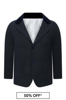 Boys Navy Cotton Blazer