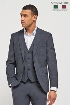 Navy Slim Fit Signature Tollegno Fabric Motion Flex Suit: Jacket