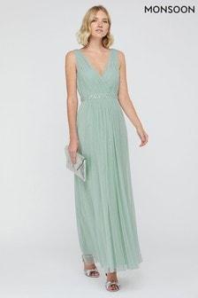 Monsoon Green Elyse Embellished Waist Maxi Dress