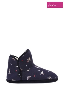 Joules Blue Cabin Faux Fur Lined Shoes With Rubber Sole