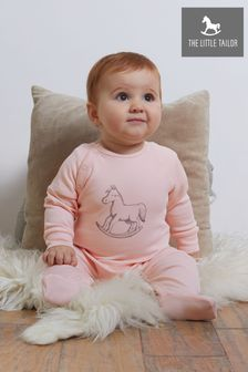 The Little Tailor Pink Chest Print Rocking Horse Sleepsuit
