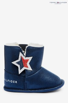 Tommy Hilfiger Blue Faux Fur Lined Baby Boots