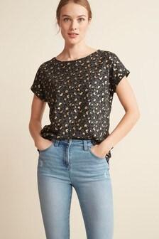 Charcoal Animal Foil Curved Hem T-Shirt