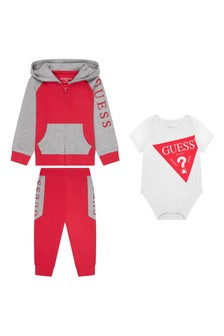 Baby Boys Red Cotton Tracksuit Set (3 Piece)