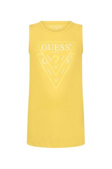 Guess Girls Yellow Cotton Dress