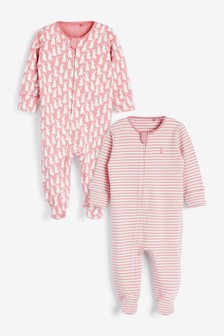Pink Bunny Organic Cotton 2 Pack Zip Sleepsuits (0-3yrs)