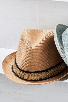 Neutral Metallic Trilby Hat