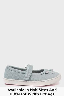 Denim Unicorn Wide Fit (G) Canvas Mary Jane Shoes (Younger)