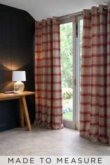 Cranford Check Red Made To Measure Curtains