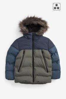 Khaki Green Faux Fur Hooded Padded Jacket (3-16yrs)
