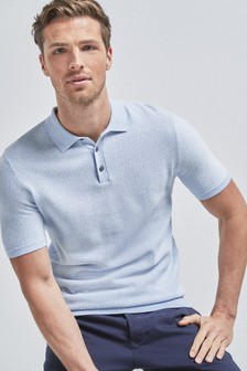 Light Blue Textured Cotton Short Sleeve Polo Top