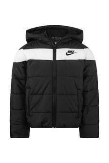 Boys Black Logo Padded Jacket