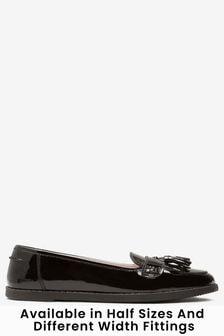 Black Patent Standard Fit (F) Leather Tassel Loafers