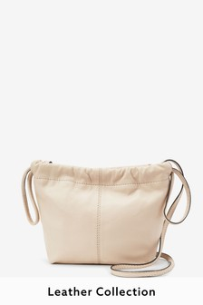Bone Leather Drawstring Bucket Bag