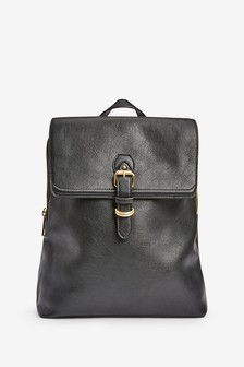 Black Buckle Detail Laptop Rucksack