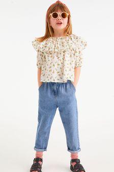 Mid Blue Gathered Waist Jeans (3-16yrs)