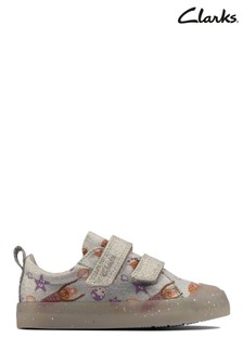 Clarks Silver Foxing Print T Canvas Shoes