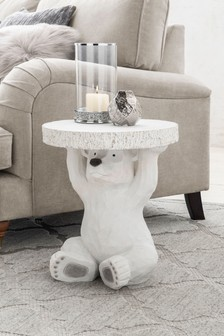 White Barnaby Bear Side Table