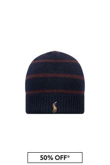 قبعة صوف ميرينو أزرق داكن أولادي