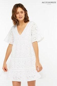 9b103b21b6 White Accessorize White Schiffli Cutwork Cotton Dress