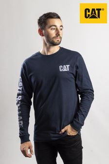 CAT® Blue Trademark Banner Long Sleeve T-Shirt