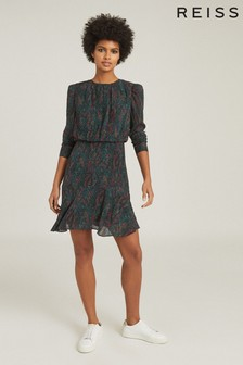 Reiss Green Renee Printed Mini Dress