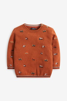Rust Embroidered Transport Jumper (3mths-7yrs)