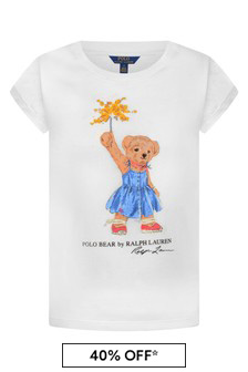 Girls White Cotton Bear Print T-Shirt