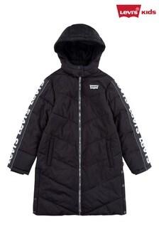 Levi's® Kids Black Logo Long Length Puffer Coat