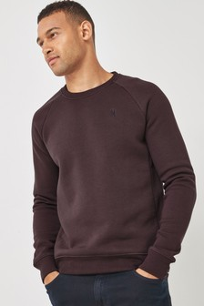 Burgundy Red With Stag Crew Sweatshirt