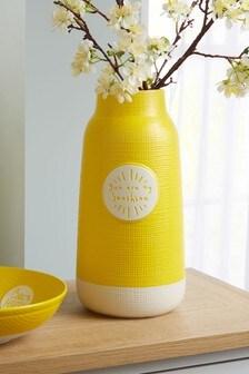 Large Ochre Ceramic Vase