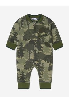 Baby Boys Khaki Cotton Trees Romper