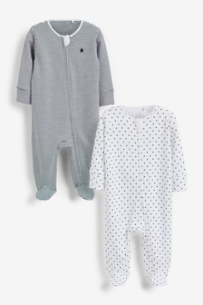Mono Star And Stripe 2 Pack Zip Sleepsuits (0-2yrs)