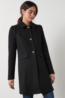 Black Puff Shoulder Coat