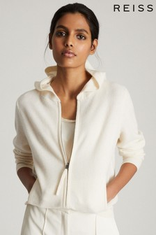 Reiss White Khloe Wool Cashmere Blend Zip Through Hoody