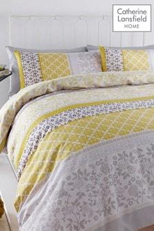 Catherine Lansfield Oriental Birds Stripe Duvet Cover and Pillowcase Set