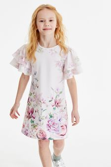 Light Pink Floral Occasion Dress (3-16yrs)