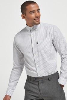 Charcoal Stripe Slim Fit Single Cuff Easy Iron Button Down Oxford Shirt