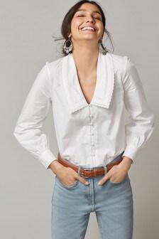 White Lace Trim Collar Shirt