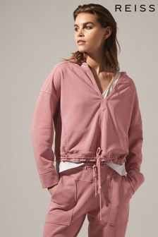 Reiss Pink Rayna Washed Loungewear Hoody