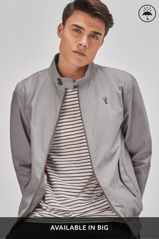 Grey Shower Resistant Harrington Jacket With Check Lining