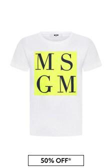 MSGM Boys White Cotton T-Shirt